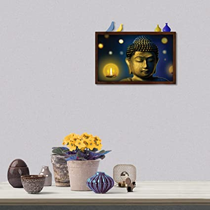 Museum quality framed Buddha paintings cum mini shelf with wooden ...
