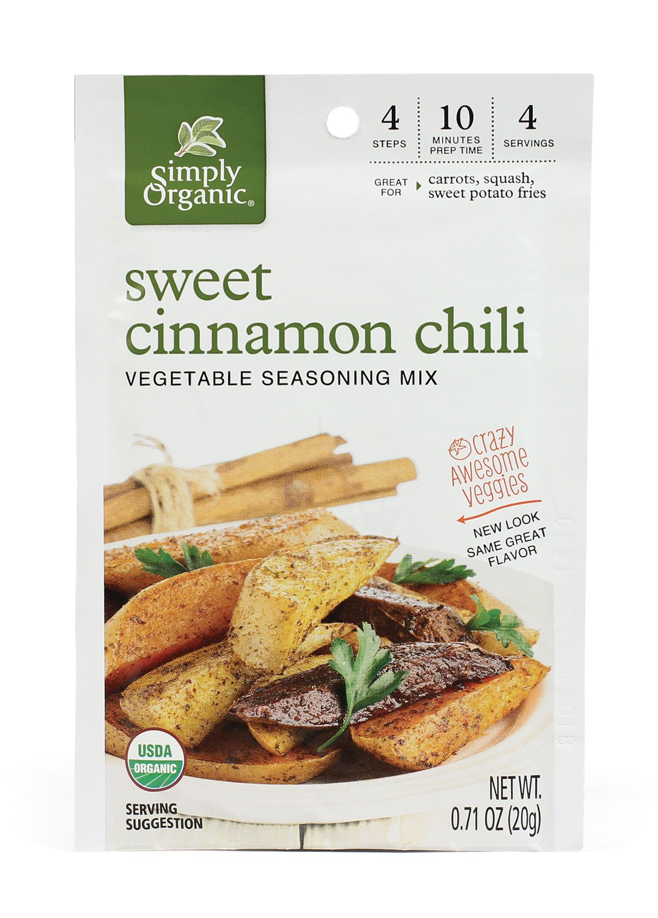 Simply Organic Crazy Awesome Veggies Chili Seasoning Mix, Sweet Cinnamon, 0.71 Ounce (Pack of 12)