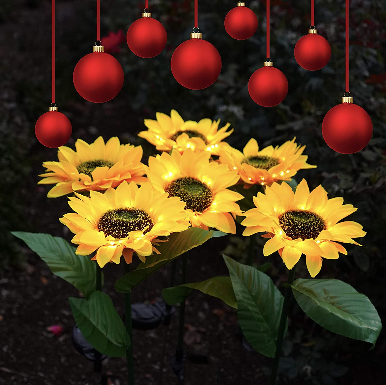 Solar LED Outdoor Lights | Sunflower Garden Lighting stay Lit 6-8 hrs, Easy to Install, Large Realistic & Natural Looking Flowers for Courtyard, Front yard, Patio, Balcony, Entryway- 2Pc by 2BFFS.com