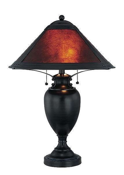 Lite Source LS 21437 Mischa Table Lamp, Dark Bronze With Mica Shade