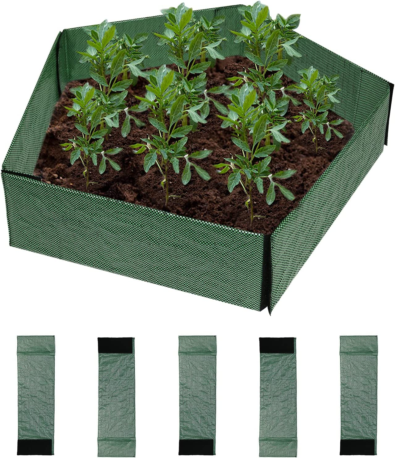 CestMall 5PCS Garden Fence Panels Raised Garden Beds for Vegetables Flowers Plants, DIY Decoration Free Assembly Easy to Install Plant Containers, 19.7x6.3inch Green