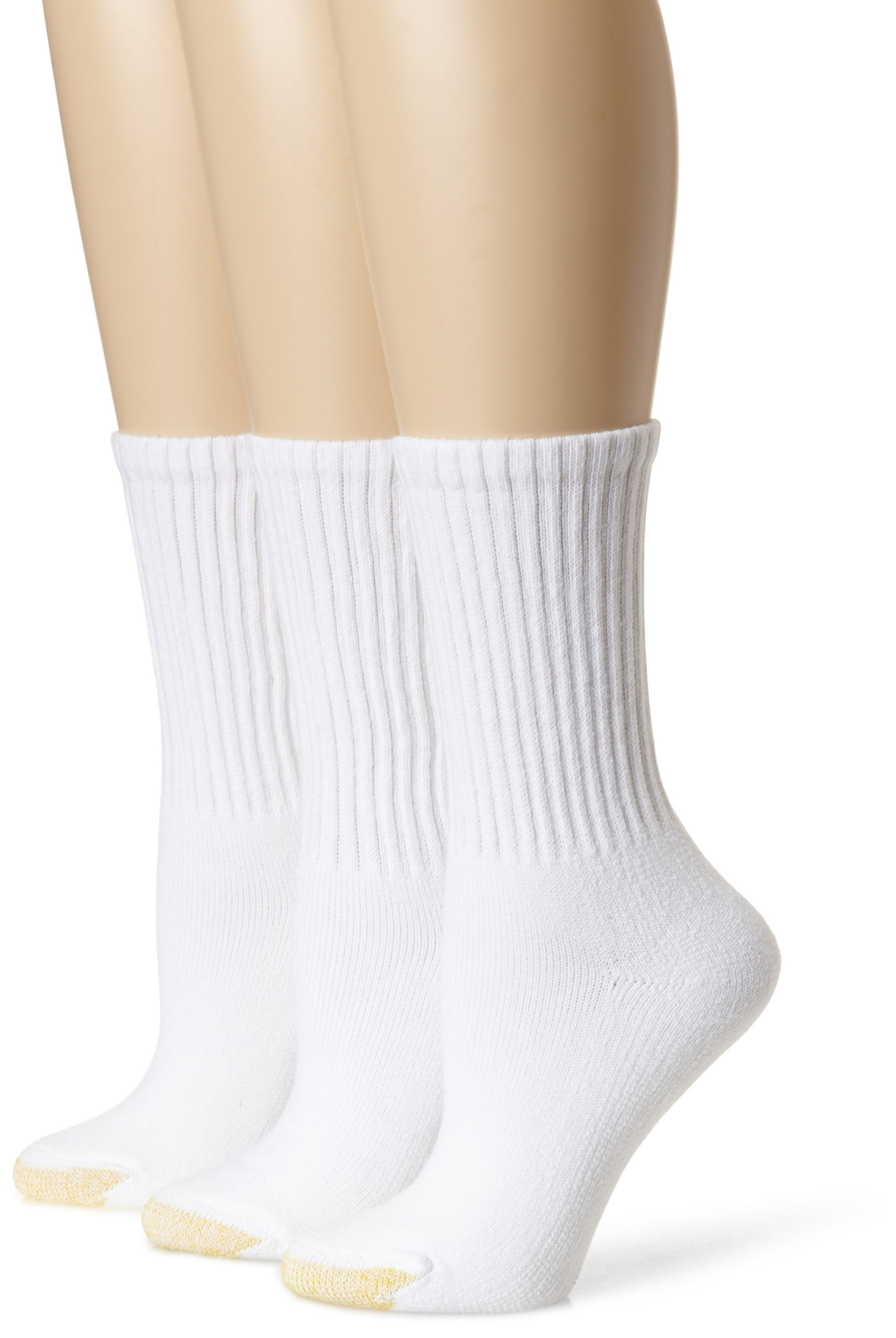 Gold Toe Woman's 3-Pack Ultratec Crew Socks, White, Shoe Size: 6-9