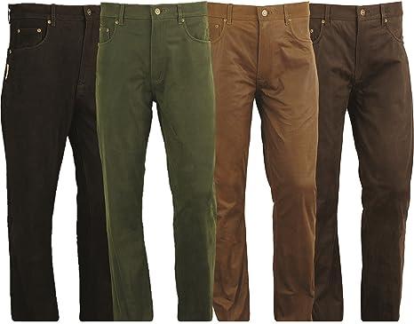 Fuente - Pantalón largo de piel de nobuk largo de estilo vaquero, ideal para motociclismo, caza o equitación