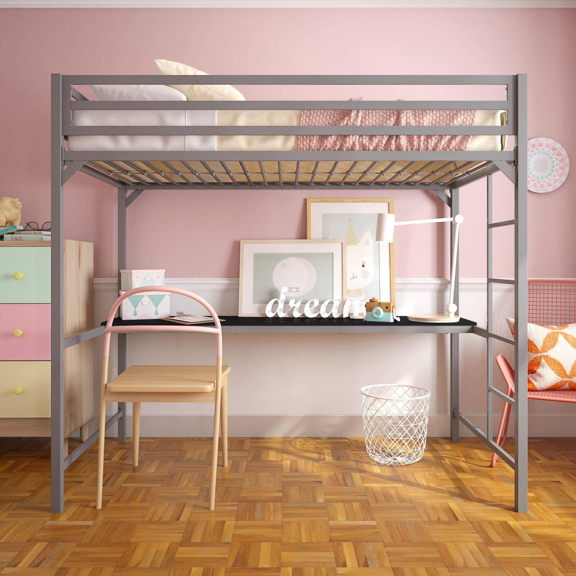 Student Loft Bed Frame w/ Desk for Kids Teens Adults Twin ...