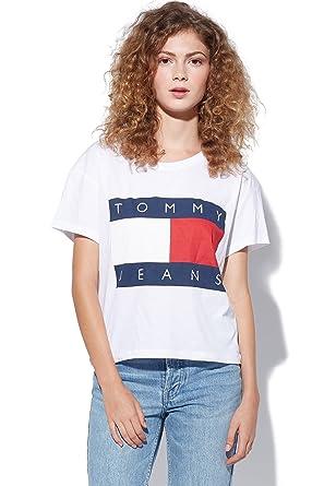 Tommy Hilfiger Denim Jeans 90´s Logo T-Shirt Damen (L, Weiß