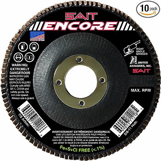 United Abrasives-SAIT 75520 5 by 7//8 2AX 120X SAITlam FG Flap Disc 10-Pack