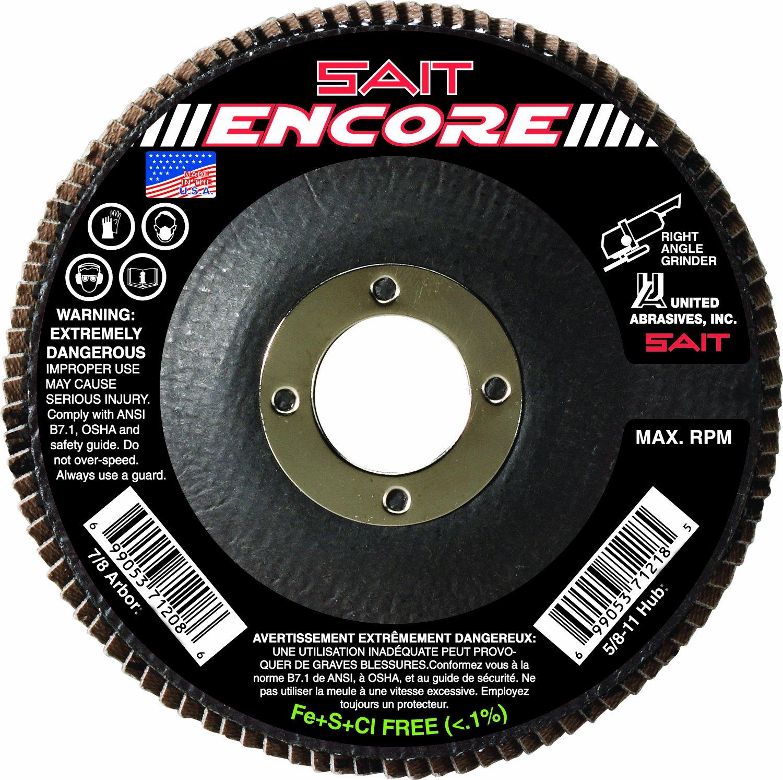 United Abrasives-SAIT 71206 Type 27 Encore Flap Disc, 4-1/2-Inch x 7/8-Inch Z 40X, 10-Pack