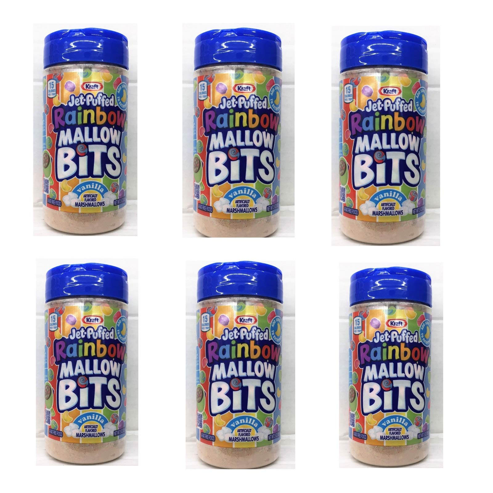 et-Puffed Rainbow Marshmallow Bits, Vanilla 3oz Shaker, count of 6