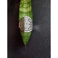 Yantra símbolo budista. Anillo de acero inoxidable, Medida ajustable. Anillo de protección, Mantras, Mudras, Regalo Yoga…