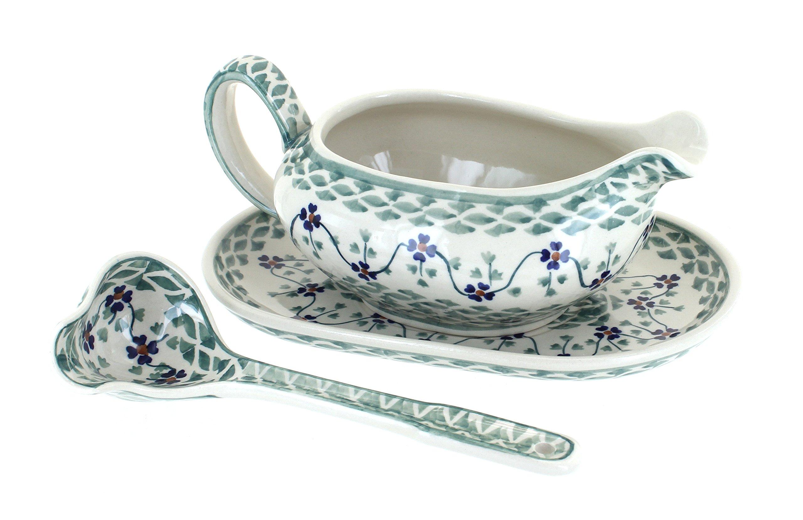 Blue Rose Polish Pottery Sage Floral Gravy Boat & Ladle