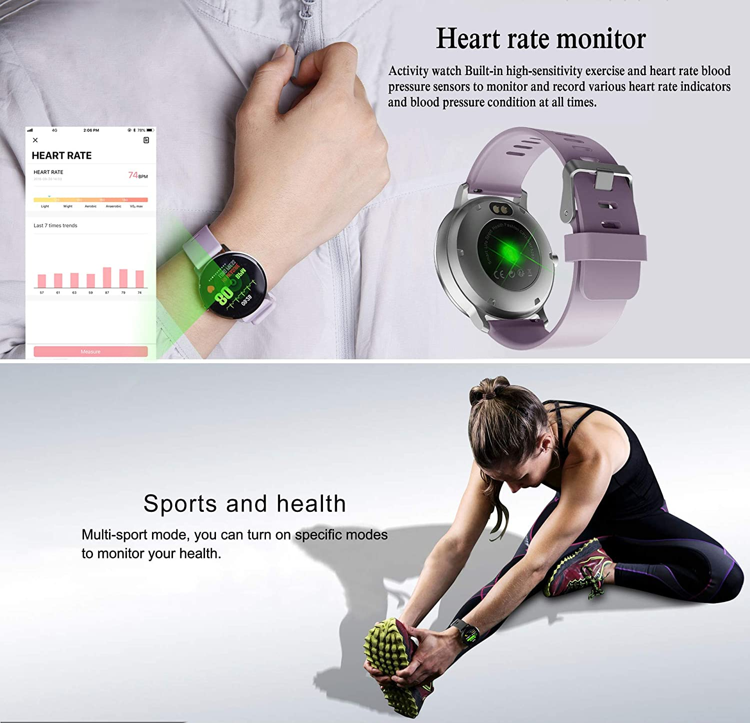 Amazon.com: Smart Watch,Fitness Tracker with Heart Rate & Blood Pressure Monitor for Android & iOS, Waterproof Activity Tracker Watch with Sleep & Blood ...