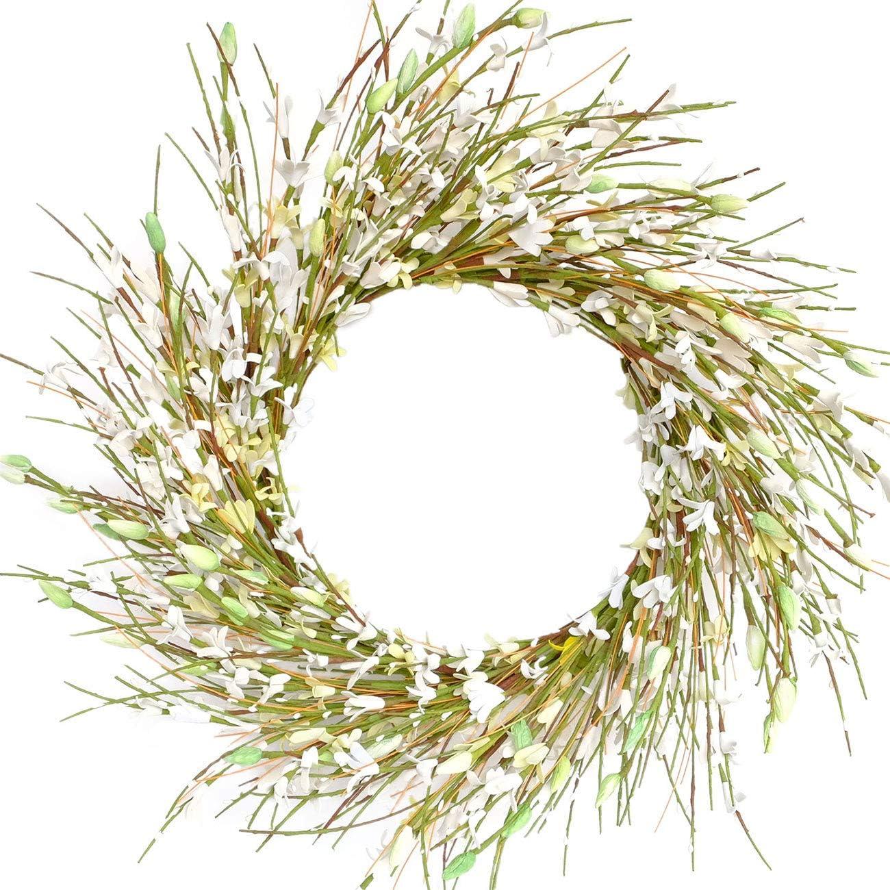 Bibelot 18inch Artificial Forsythia Flower Wreath, All Year Around Wreath for Front Door, Wedding Window Home Wall Indoor Front Door Decor (White, 18in)