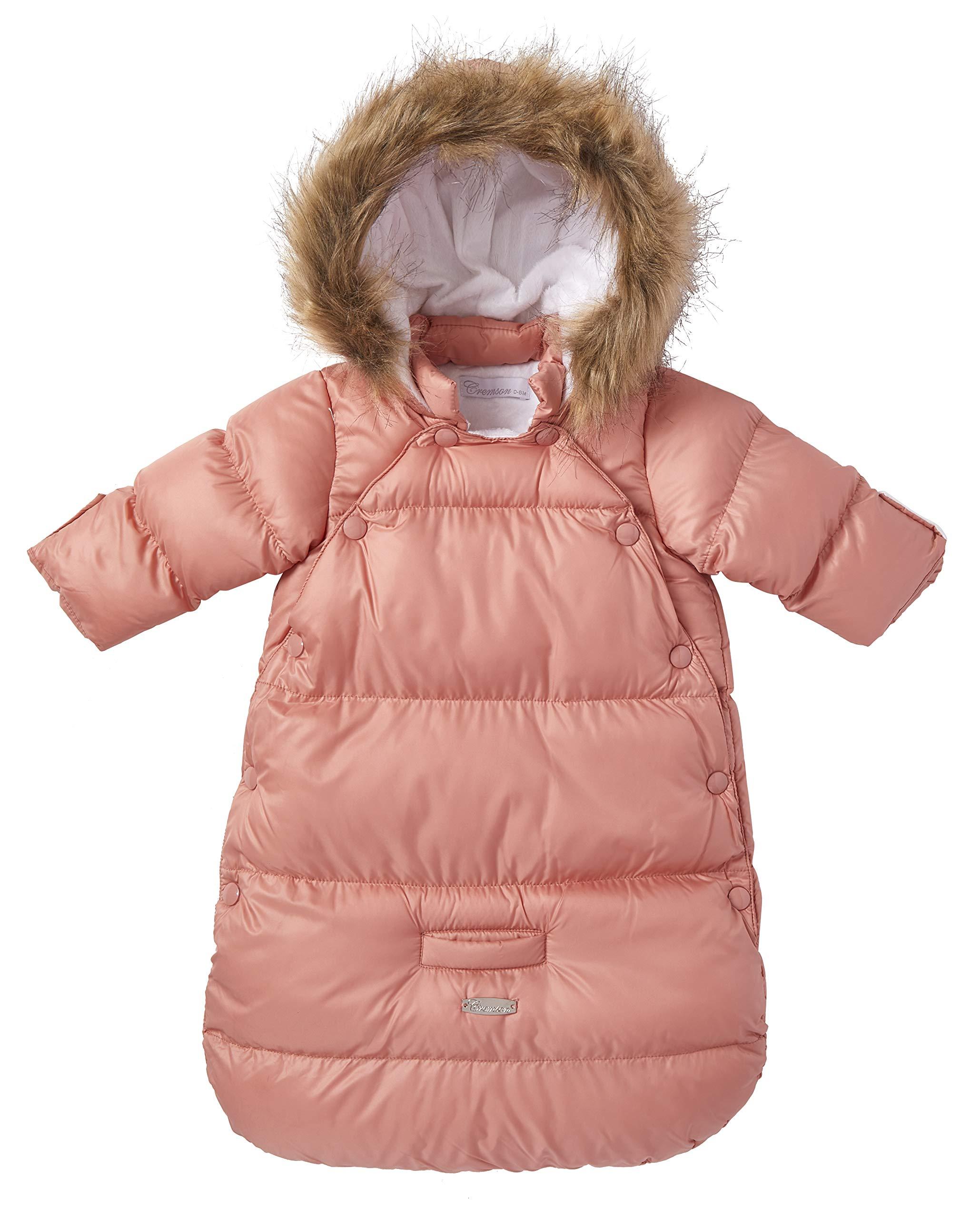 Cremson Girls Boys Newborn Infant Baby Puffer Carbag Pram Bag Snowsuit Bunting - Mauve Pink (Size 0/6 Months) by Cremson