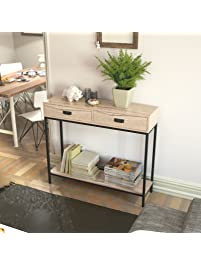 Roomfitters 2 Drawer Entryway Console Table, Sofa Table For Hallway Foyer,  2 Tier Display