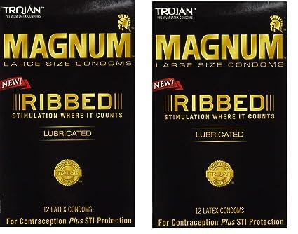 Amazoncom Trojan Magnum Ribbed Lubricated Condoms Large 2 Boxes