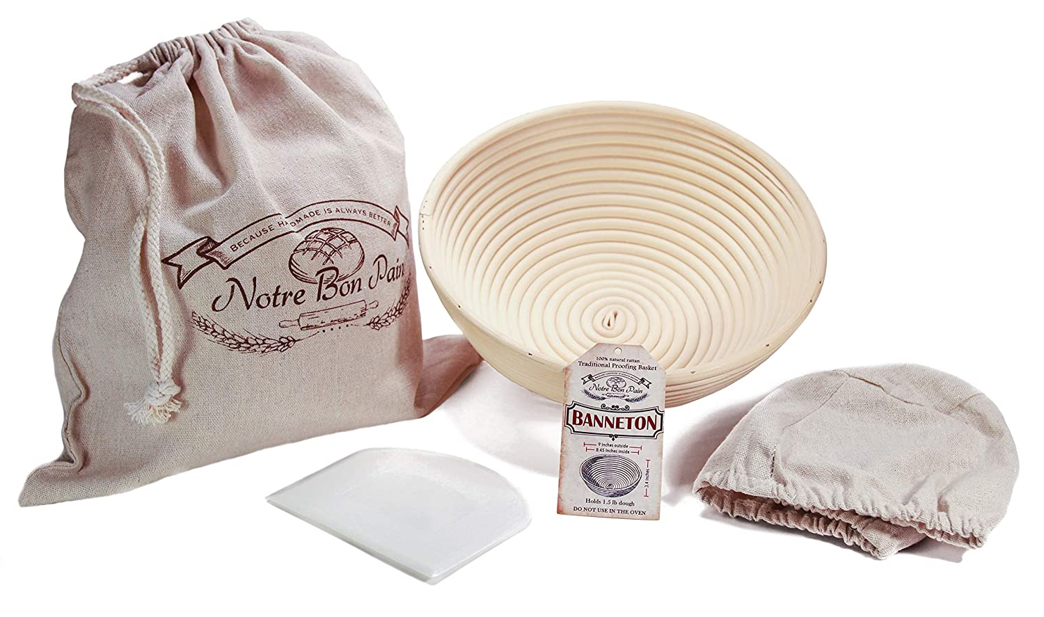 9 inch Banneton Dough Rising Basket for Homemade Crispy Crust Sourdough Loaf –set includes: Round Banneton, Cloth Liner, Dough Scraper, Hand-printed Bread Bag -Brotform Shape Baked Boules Handcrafted and more