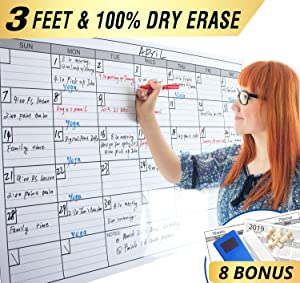 "Dry Erase Monthly Laminated Jumbo Whiteboard Calendar, 25"" by 38"",Erasable Family Schedule Planner"