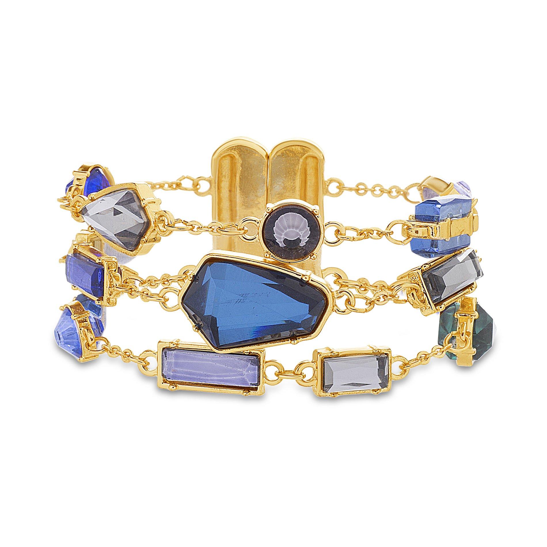 Catherine Malandrino Women's Blue Multi-Tonal Multi Strand Rolo Chain Yellow Gold-Tone Bracelet