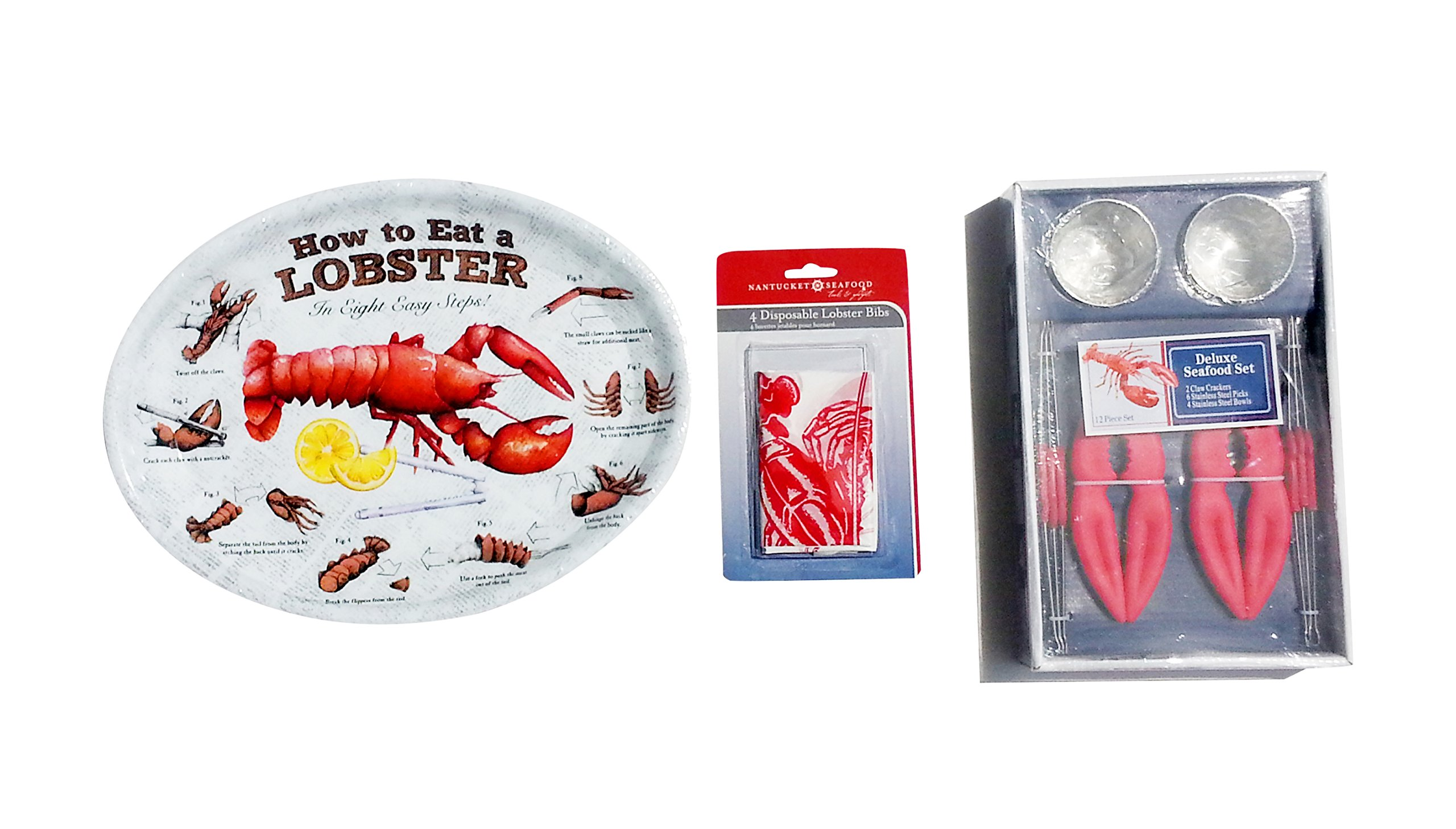 Complete Lobster Cracker and Dinner Set for 4 - Plates, Crackers, Butter Cups, Bibs and Picks