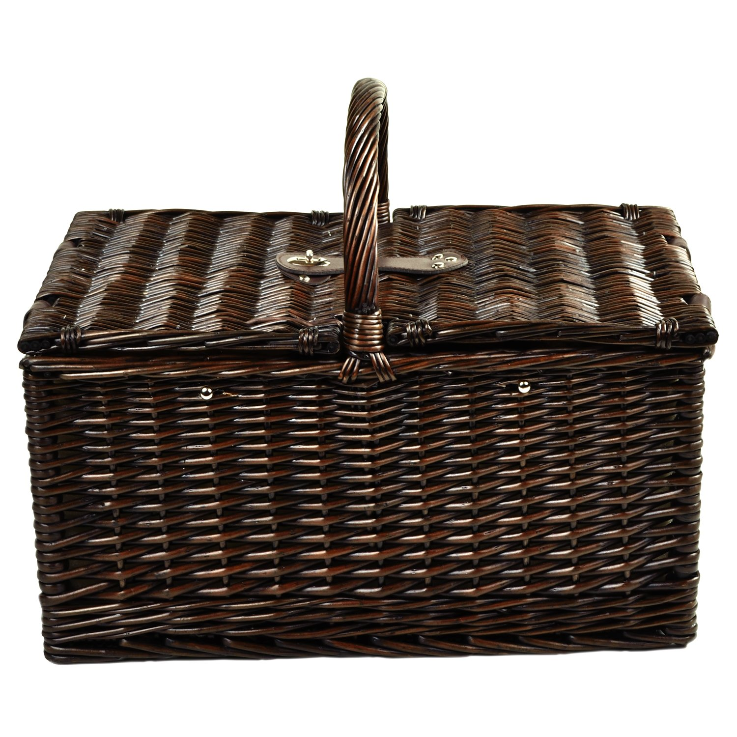Picnic at Ascot Buckingham Willow Picnic Basket with Service for 4 and Coffee Service – Blue Stripe