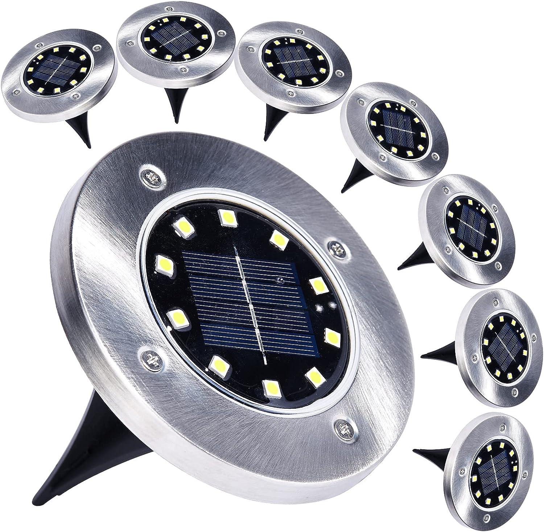 AIKEI Solar Ground Lights Outdoor - 8 Pack 10 LED Solar Disk Lights Waterproof Solar Garden Lights Landscape Lighting for Lawn Patio Pathway Yard Deck Walkway Warm White