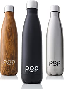 POP Design Stainless Steel Vacuum Insulated Water Bottle - Keeps Cold 24hrs. or Hot for 12hrs. - Sweat & Leak-Proof - Narrow Mouth & BPA Free - 17 Oz (500ml) or 25 Oz (740ml) - 3 Colors