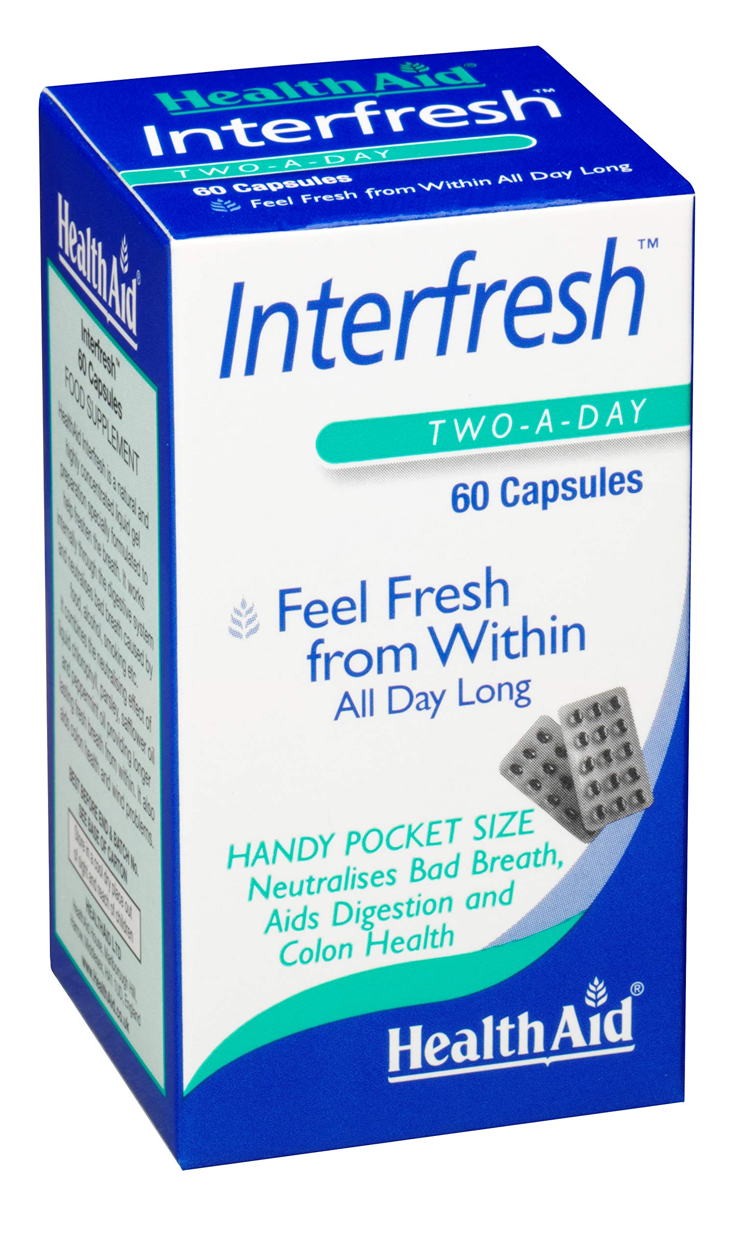 HealthAid Interfresh, 60 Soft Gel Capsules, Twice Daily, Fights Bad Breath and Aids in Digestion and Colon Health, Feel Fresh All Day Long