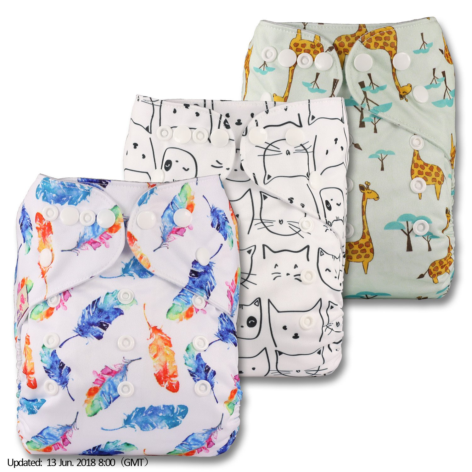 Reusable Pocket Cloth Nappy Littles /& Bloomz Set of 3 Fastener: Popper Patterns 307 with 3 Bamboo Inserts