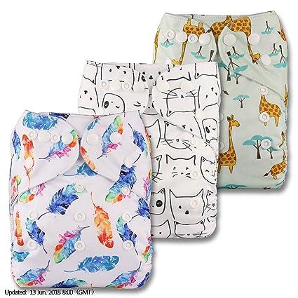 LittleBloom Bebé Pañales Lavables Pañal Reutilizable Insertos, Cierre: POPPER, Set de 3