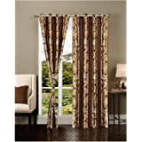 Exporthub 2 Piece Eyelet Polyester Door Curtain Set - 7ft, Brown