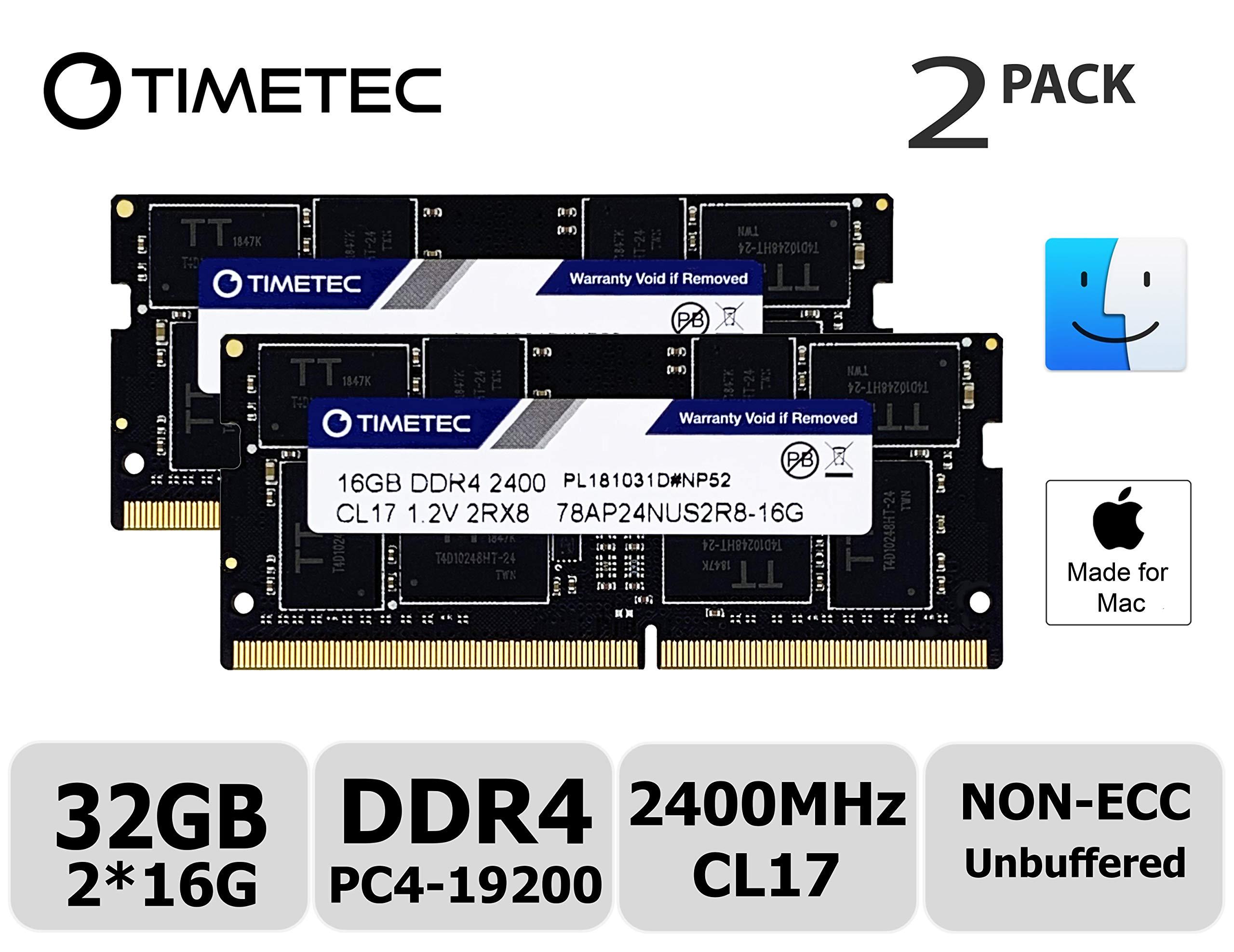 Timetec Hynix IC Apple 32GB Kit (2x16GB) DDR4 2400MHz PC4-19200 SODIMM Memory Upgrade for iMac Retina 4k/5K 21.5-inch/27-inch Mid 2017 (32GB Kit (2x16GB))