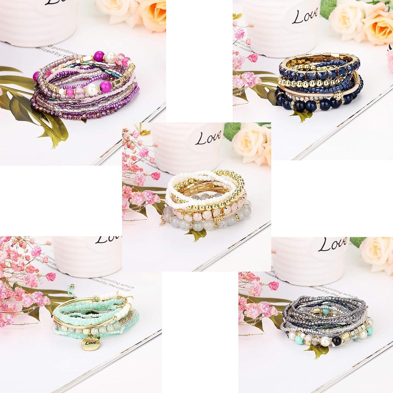 LOYALLOOK 6 Sets Bohemian Stackable Bead Bracelets for Women Stretch Bangles Bohemian Style Stretch Multilayered Bracelet Set