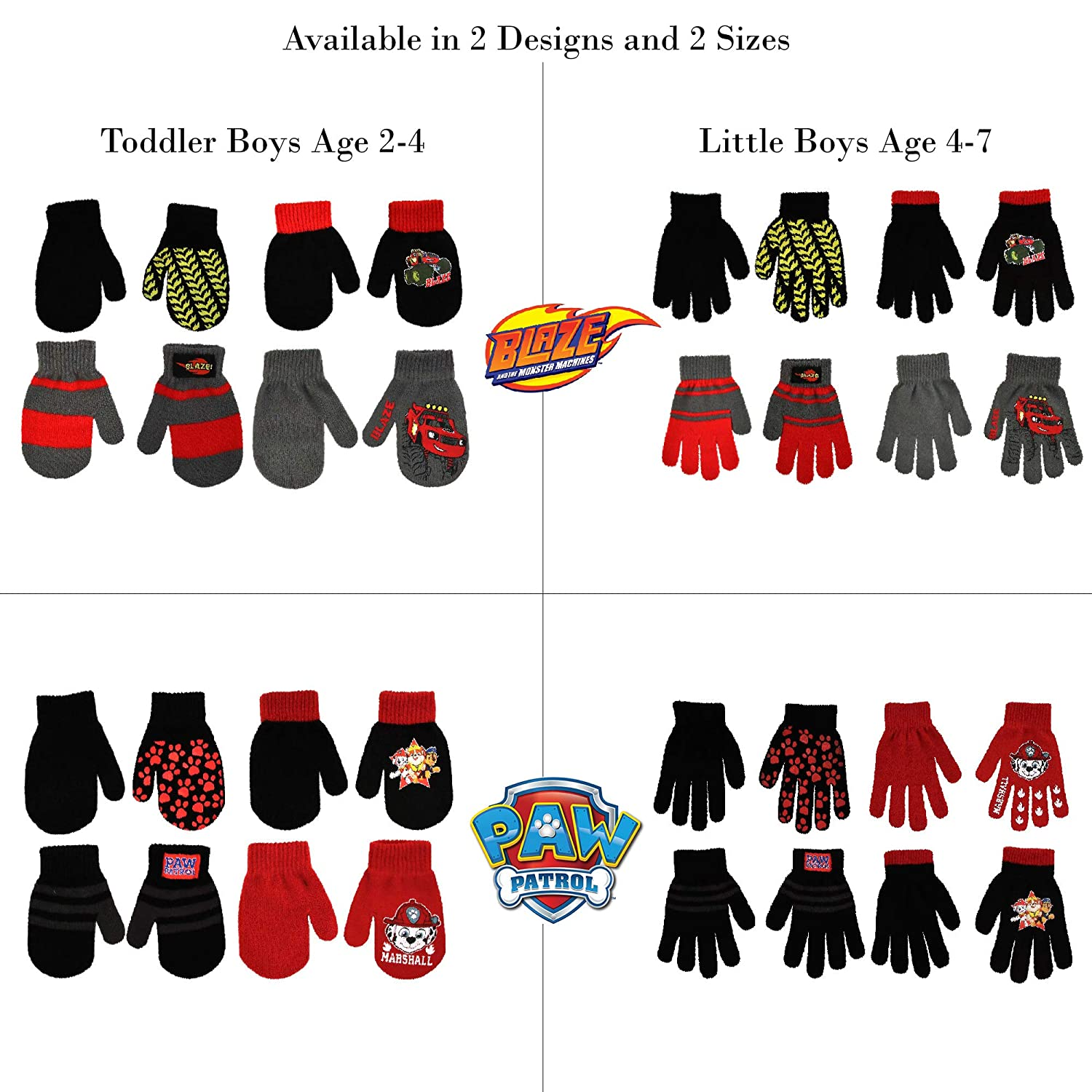 Age 2-4 or 4-7 Little Boys Nickelodeon Assorted 4 Pair Set Mittens or Gloves