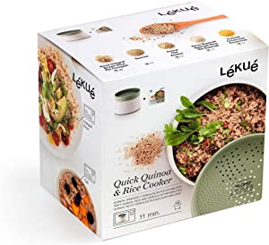 Lekue Microwave Rice, Grain & Quinoa Cooker, one size, Green