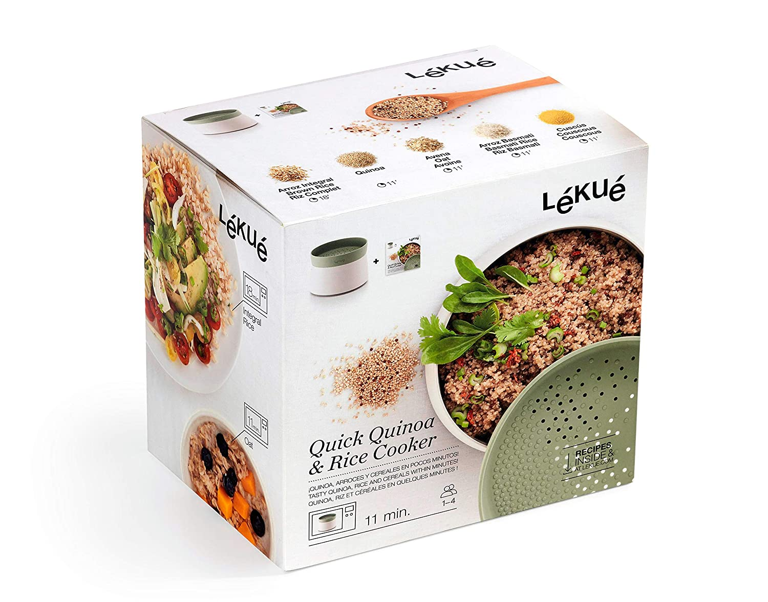 Lekue 0200700V17M017 Quick Quinoa & Rice microwave rice & grain cooker one size Green