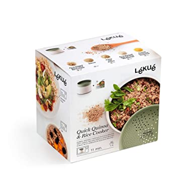 Lekue 0200700V17M017 Microwave Rice, Grain & Quinoa Cooker, one size, Green