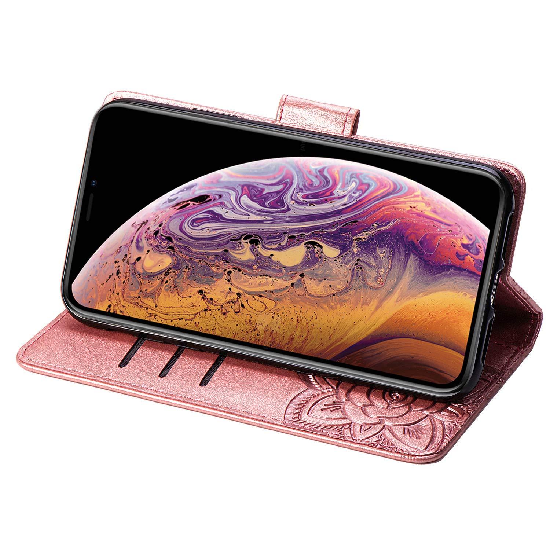 Caler /Étui pour Huawei Y6 Pro 2019//Y6 2019//Honor 8A Ext/érieur en Cuir v/éritable Int/érieur en Textile Fermeture magn/étique Support avec Compartiment pour Cartes Ultra Slim Cover Bookstyle