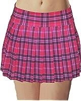 Hot Pink Stretch Lycra Plus Size Schoolgirl Tartan Plaid Pleated Skirt