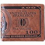 Men Pockets Card US Dollar Bill Money Wallet Foldable PU Dollar Wallet Dark Brown