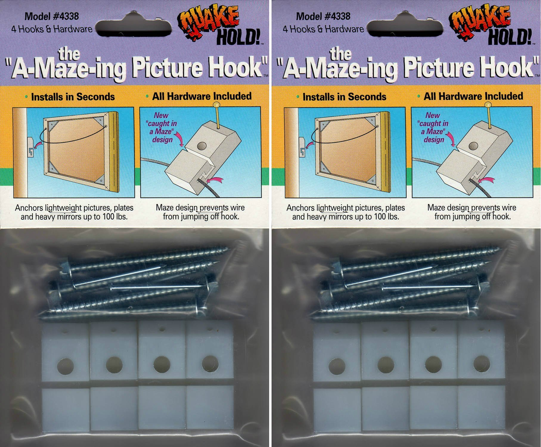 Quakehold! 4338 the A-Maze-ing Picture Hook (2-Pack)
