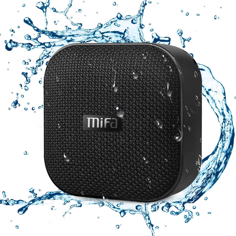 MIFA Mini Altavoz Portátil Bluetooth 4.2 Impermeable IP56 y Tecnología TWS & DSP, Anti-Polvo con 15 Horas Continua y Tarjeta de microSD, Micrófono Incorporado, Negro