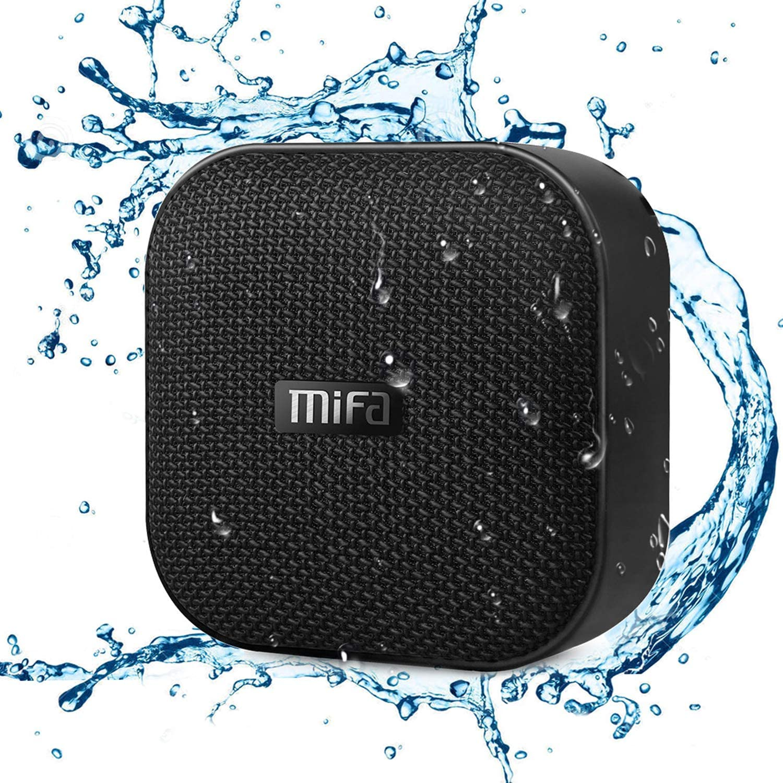 MIFA Bluetooth Speakers, A1 Portable Wireless Soundbox, IP56 Dustproof Waterproof, 12-Hour Playtime, Built-in Mic, TF Card Slot, Loud DSP Sound Enhanced Bass, Woven Fabric Black