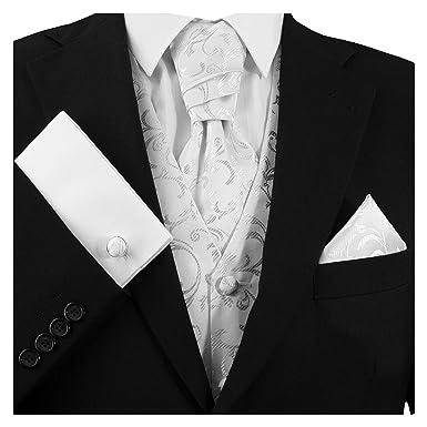 ea4fdc62637b GASSANI 3- Set Weisses Plastron   Einstecktuch Manschettenknöpfe-Krawatte  Binder zum Anzug Verlobung-