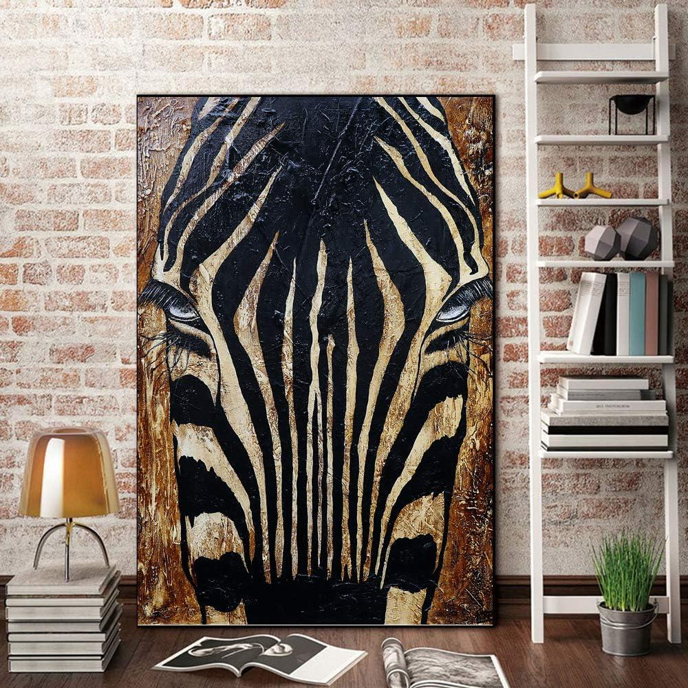 yhyxll Cartel de Lona Negra Pintura al óleo Animal del Caballo Africano para la Sala de Estar Impresiones del Arte de la Pared Cuadros de la Pared Pinturas Modernas 60x85cm