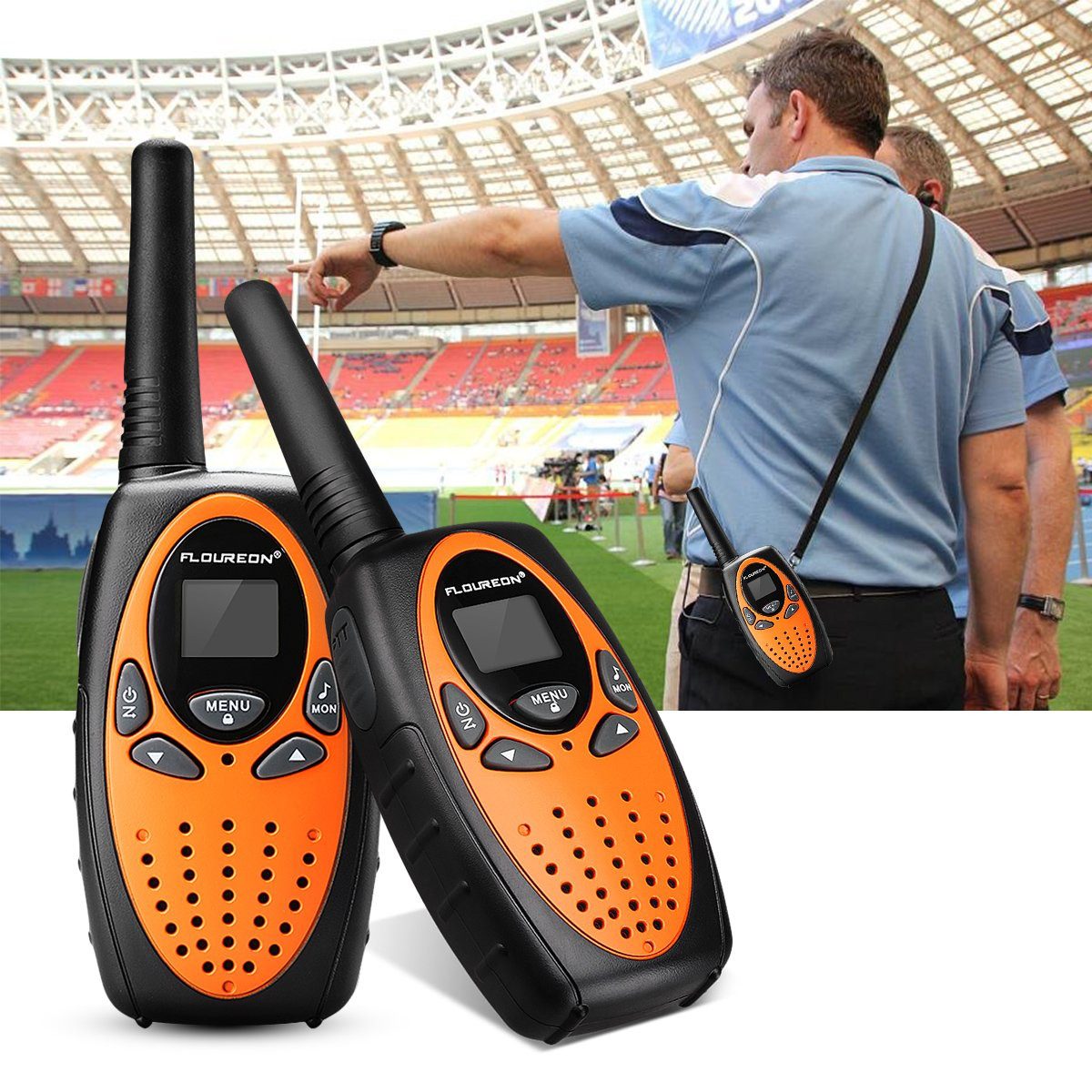 FLOUREON 4X PMR Funkgerät Walkie Talkies 8 Kanäle Walki Talki 2-Wege Radio mit LC-Display Orange