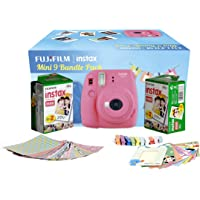 Fujifilm Instax Camera Mini 9 Bundle Pack with 40 Films Shot Free (Flamingo Pink)