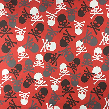 Mega Skull Red Halloween Poly Cotton Printed b52704f84