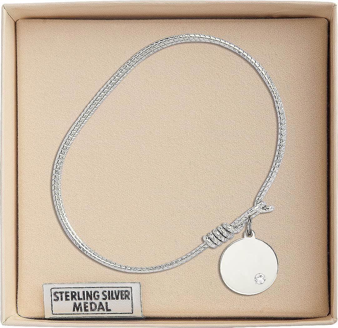 Plain Disc Charm On A 6 1//4 Inch Oval Eye Hook Bangle Bracelet