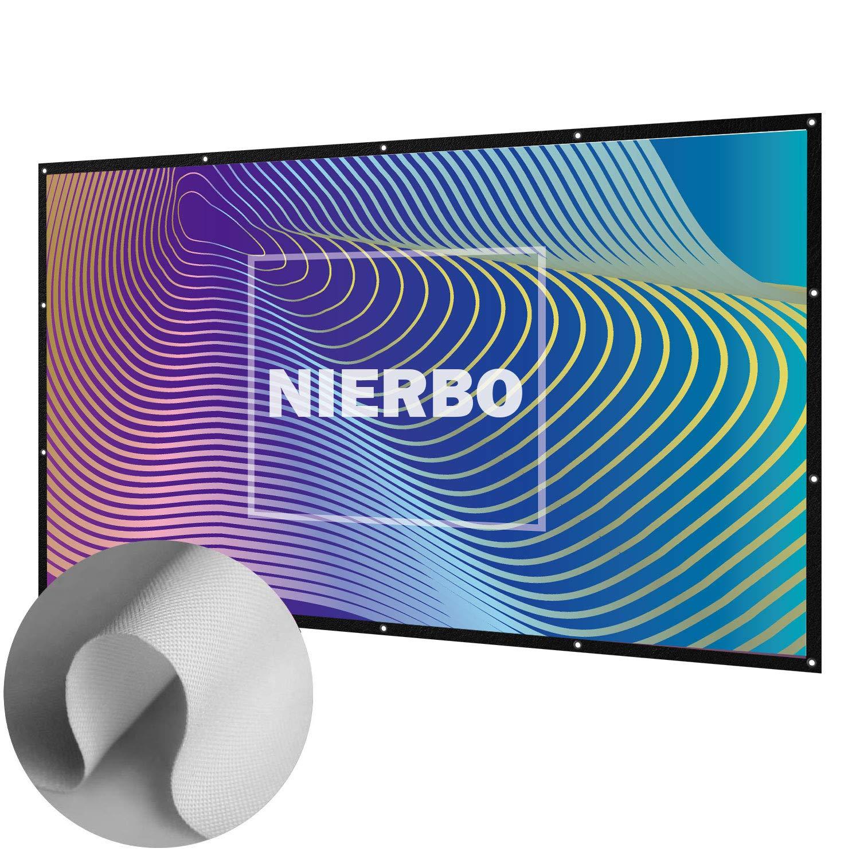 NIERBO Schermo per Proiezioni 100 Pollici Portatile Schermo da proiezione in PVC bianco per proiettore 3D Full HD Home Theater ¡ NIERBO-ES-JS