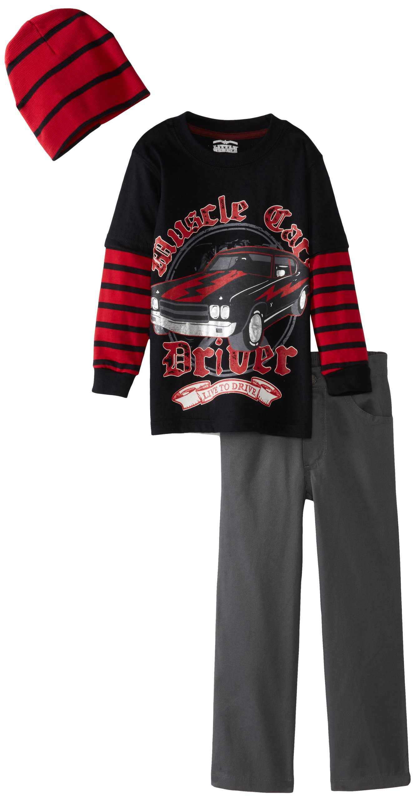 Little Rebels Little Boys' 3 Piece Muscle Cars Driver Pullover With Pant And Hat, Black, 6